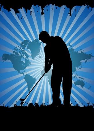 hit man: Golfer, vector illustration