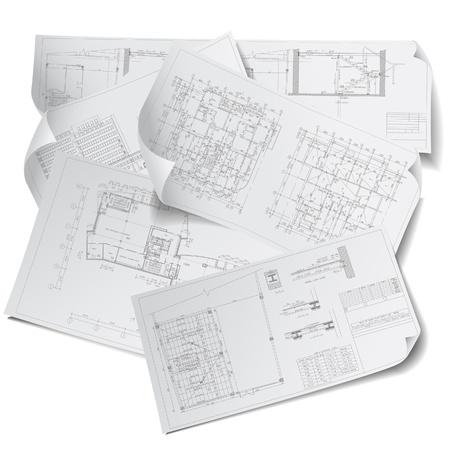 Architektoniczne tło, część projektu architektonicznego. Ilustracje wektorowe