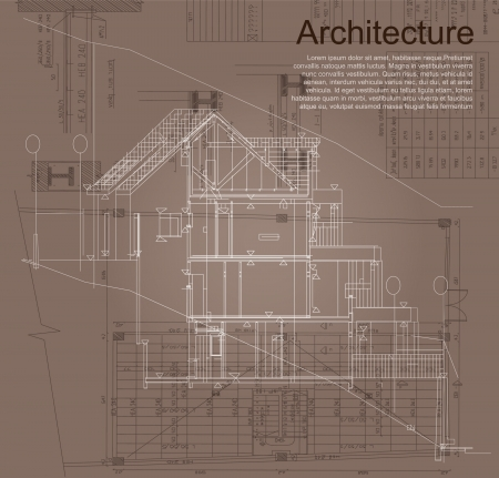 Architectural background  Part of architectural project, architectural plan, technical project, drawing technical letters, architect at work, architecture planning on paper, construction plan Vector