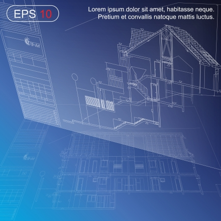 building sketch: Urban Blueprint  vector   Architectural background  Part of architectural project, architectural plan, technical project, drawing technical letters, design on paper, construction plan
