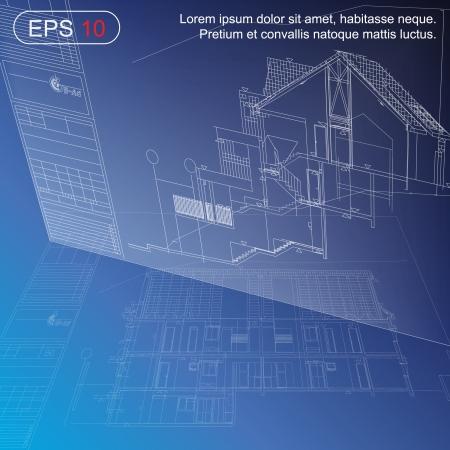 modern huis: Urban Blueprint vector architectonische achtergrond Een deel van architecturaal project, architectonische plan, technisch project, tekenen technische letters, tekening op papier, bouwplan Stock Illustratie