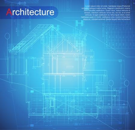 Partie arrière-plan d'architecture du projet architectural, le plan architectural, le projet technique, de dessin des lettres techniques, architecte à la planification d'architecture de travail, sur le papier, le plan de la construction Vecteurs