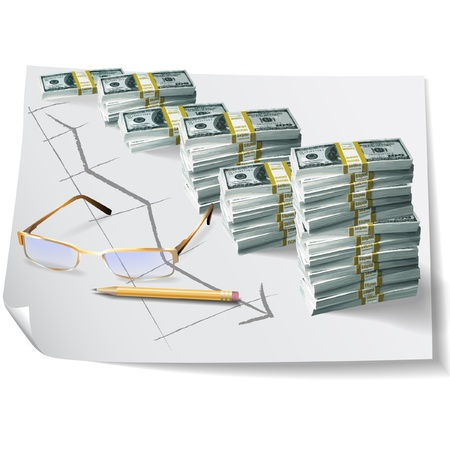 Financial graph on architectural drawing background  Vector clip-art