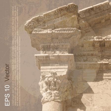 jordanian: Ruïnes van Oude Stad van Gerasa in Jerash, Jordanië Oude architectuur Vector, clip-art, die op neutrale achtergrond meer in mijn portefeuille Stock Illustratie
