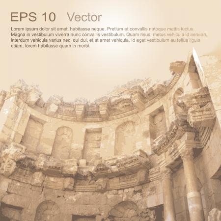 jordanian: Ruïnes van Oude Stad van Gerasa in Jerash, Jordanië Oude architectuur Stock Illustratie