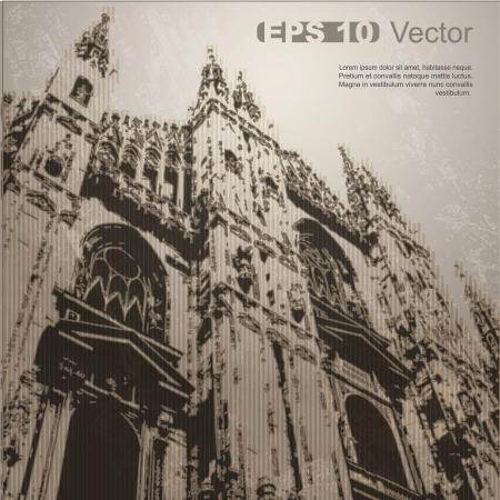 cath�drale: Fa�ade de la cath�drale de Milan Duomo di Milano, Lombardie, Italie Vecteur Architecture antique clip-art, isol� sur un fond plus neutre dans mon portefeuille Illustration