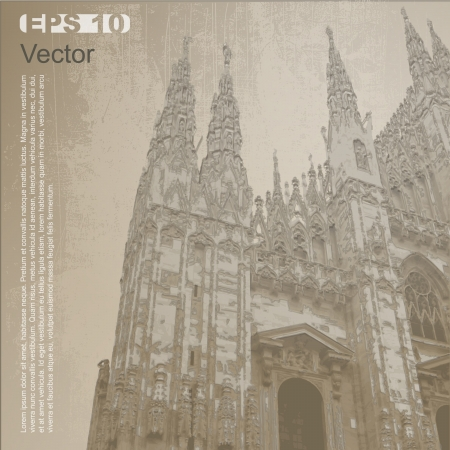 cathedrals: Facade of Milan Cathedral  Duomo di Milano , Lombardy, Italy  Ancient architecture  Vector clip-art, isolated on neutral background  More in my portfolio Illustration