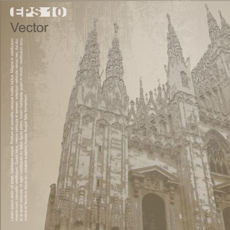 Facciata del Duomo di Milano Duomo di Milano, Lombardia, Italia Antica Vector architettura clip-art, isolato su sfondo neutro pi� nel mio portafoglio