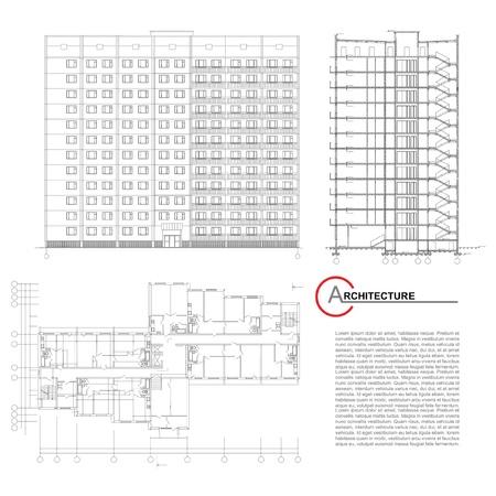 Partie arrière-plan d'architecture du projet architectural, le plan architectural, le projet technique, de dessin des lettres techniques, architecte à la planification d'architecture de travail, sur le papier, le plan de la construction