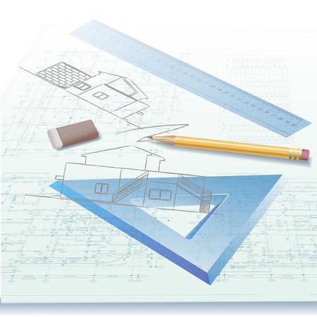 Część architektoniczna tło projektu architektonicznego, planu architektonicznego, techniczne projektu, rysunek litery technicznych, architekta w pracy, planowanie architektury na papierze, plan budowy Ilustracje wektorowe