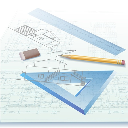 arquitecto: Fondo arquitectónico Parte del proyecto arquitectónico, proyecto arquitectónico, proyecto técnico, dibujo técnico letras, arquitecto en el trabajo, la planificación de la arquitectura en el papel, el plan de construcción