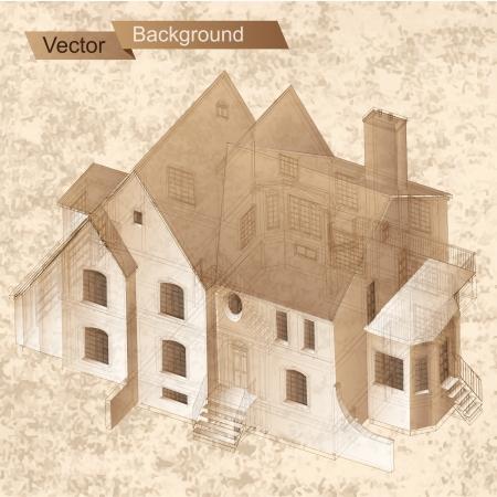 Parte de fondo sobre la arquitectura del proyecto arquitectónico, proyecto arquitectónico, proyecto técnico, dibujo técnico letras, arquitecto en la planificación de la arquitectura de trabajo, en el papel, el plan de construcción