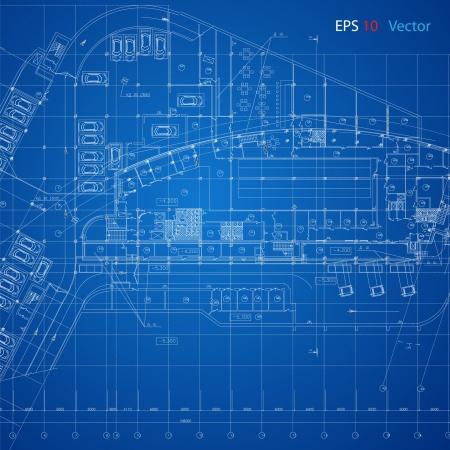 건축가: 건축 프로젝트, 건축 계획, 기술 프로젝트, 기술 편지를 드로잉, 종이에 디자인, 건축 계획의 도시 청사진 벡터 건축 배경 부