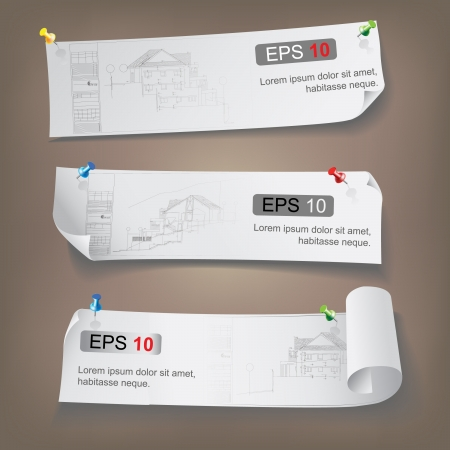 Set of Architectural Web Banners  Isolated on light background  Vector clip-art