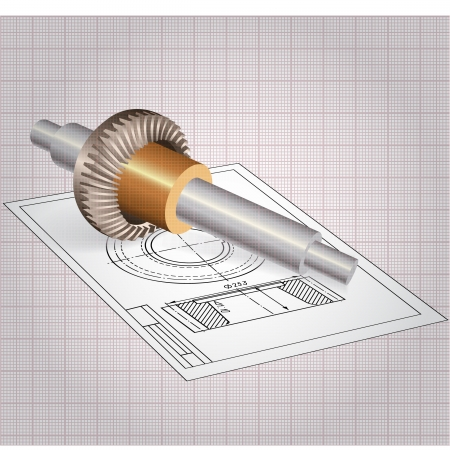 plotting: Auto Spare Part  Vector clip-art, isolated on graph paper background