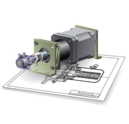 hub: Ensemble moteur machine Illustration