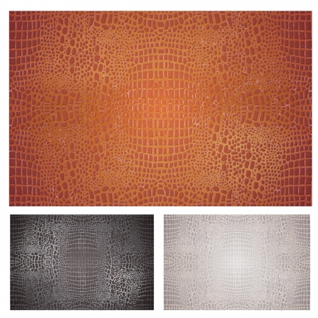 exoticism: Crocodile Leather Textures Set  Vector   Seamless pattern of crocodile textured leather