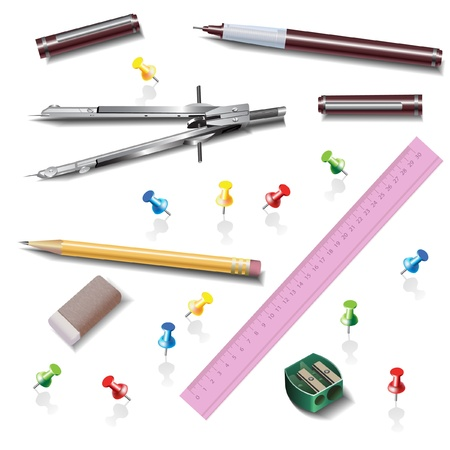 Architecture - drawing tools, isolated on white  Vector clip-art