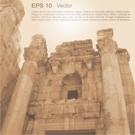 jordanian: Ruïnes van Oude Stad van Gerasa in Jerash, Jordanië Oude architectuur Vector clip-art, Vrijstaand, op neutrale achtergrond Meer in mijn portefeuille Stock Illustratie