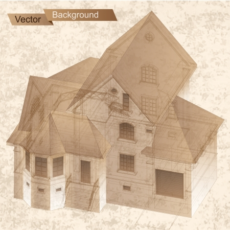 Architectural background with a 3D building model  Vector clip-art Vector