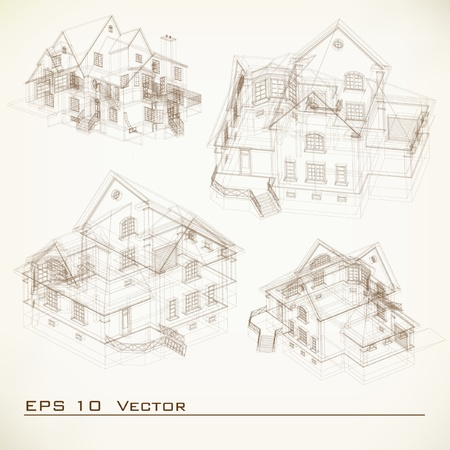 Set of Building Drawings  Architectural background  Part of architectural project, architectural plan, technical project, drawing technical letters, architecture planning on paper, construction plan
