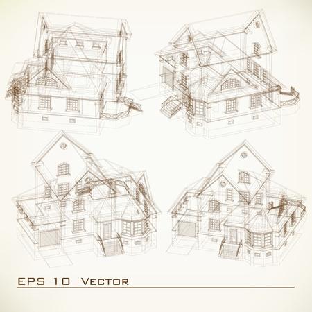 housing project: Juego de construcci�n de Dibujos de fondo sobre la arquitectura del proyecto arquitect�nico, proyecto arquitect�nico, proyecto t�cnico, dibujo t�cnico las cartas, la planificaci�n de la arquitectura en el papel, el plan de construcci�n
