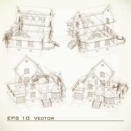 built: Set of Building Drawings  Architectural background  Part of architectural project, architectural plan, technical project, drawing technical letters, architecture planning on paper, construction plan