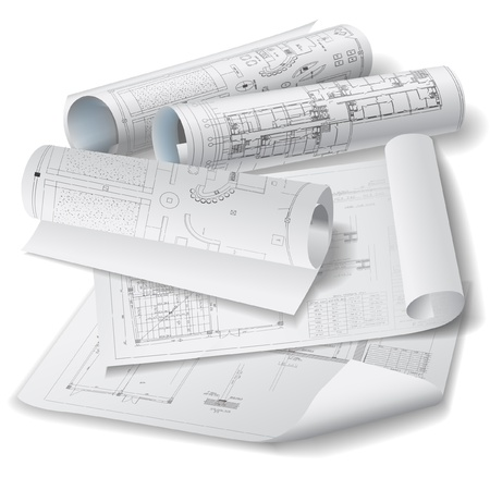 Architectural background with rolls of technical drawings Vector clip-art Ilustração Vetorial