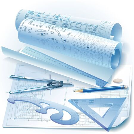 architectural drawing: Architectural background with rolls of technical drawings and drawing tools  Vector clip-art