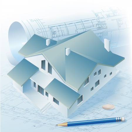 Architectural background with a 3D building model  Vector clip-art Stock Vector - 14404030