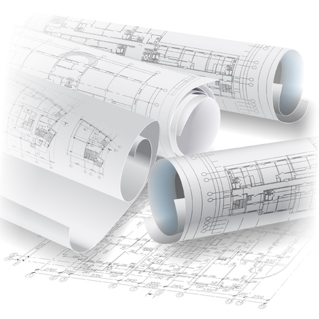 Architectural background with rolls of technical drawings  Vector clip-art