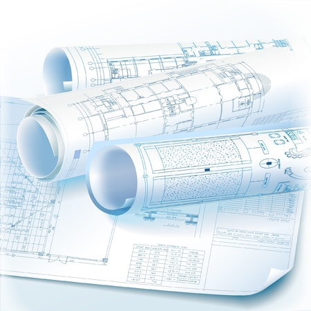 Architectural background with rolls of technical drawings vector architectural background with rolls of technical drawings vector clip art vector malvernweather Choice Image