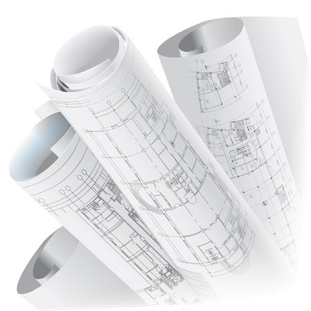 技術的な図面ベクトル クリップ アートのロールと建築の背景