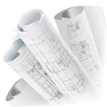 Architectonische achtergrond met rollen van technische tekeningen vector clip-art