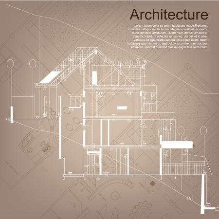 建設: アーキテクチャの背景、建築プロジェクト、建築計画、技術的なプロジェクト、技術的な手紙、仕事では、アーキテクチャの計画建設計画、紙の上の建築家の図面の一部