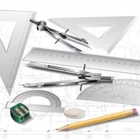 Set di strumenti di disegno architettonico, isolato su bianco