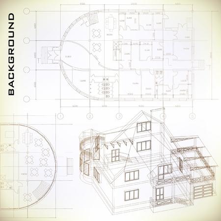 建設: 建築背景の建築プロジェクト、建築計画、技術的なプロジェクト、図面テクニカル レター、アーキテクチャの計画建設計画、紙の上の部分