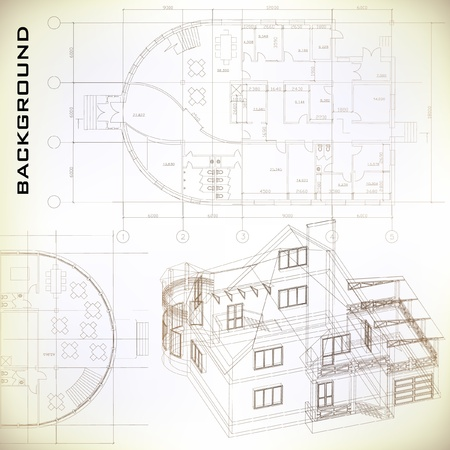 construction project: Architectural background  Part of architectural project, architectural plan, technical project, drawing technical letters, architecture planning on paper, construction plan Illustration