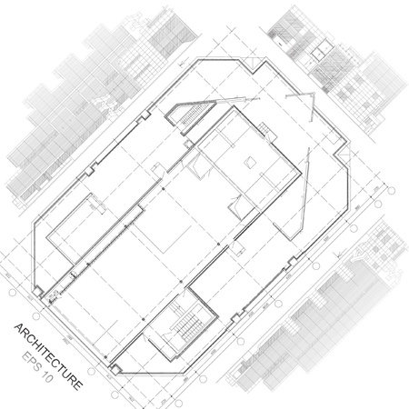 Architectural background  Part of architectural project, architectural plan, technical project, drawing technical letters, architecture planning on paper, construction plan Иллюстрация