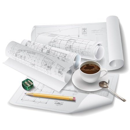 Architectural background with a cup of coffee, drawing tools and rolls of drawings