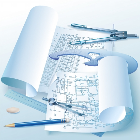 Architectural background with drawing tools and rolls of drawings  Vector