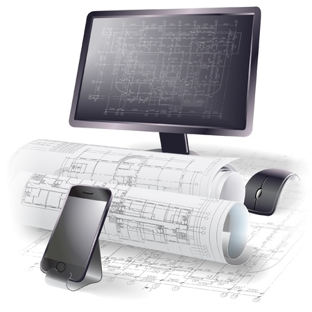 Architectural background with a monitor, office tools and rolls of drawings