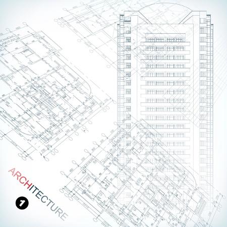 ingenieurs: Architecturale achtergrond Een deel van architecturaal project, bouwkundig plan, technisch project, tekening technische brieven, architectuur planning op papier, bouwplan