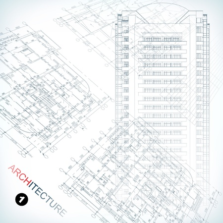 Parte sfondo architettonico del progetto architettonico, progetto architettonico, progetto tecnico, disegno tecnico lettere, progettazione architettura su carta, piano di costruzione Vettoriali