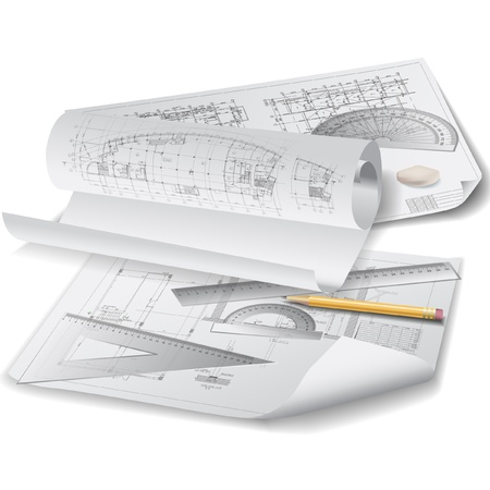architectural drawings: Architectural background with drawing tools and rolls of drawings