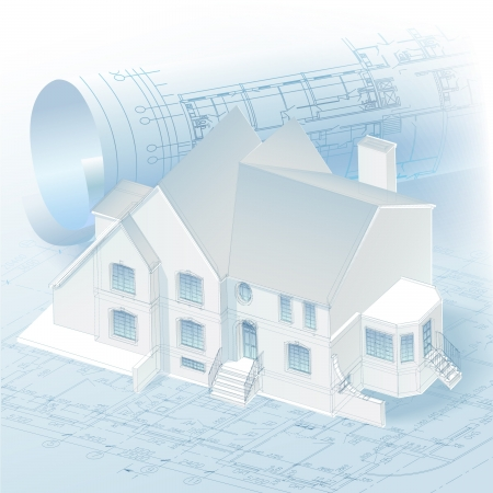 building blueprint: Architectural background with a 3D building model and rolls of drawings clip-art Illustration