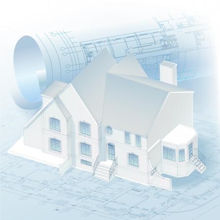 modern huis: Architecturale achtergrond met een 3D-gebouwmodel en rollen van tekeningen clip-art Stock Illustratie