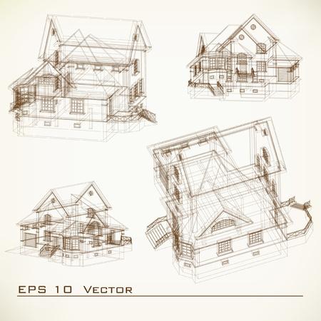 piano di progetto: Parte sfondo architettonico del progetto architettonico, progetto architettonico, progetto tecnico, disegno tecnico lettere, architetto al lavoro, progettazione architettura su carta, piano di costruzione Vettoriali