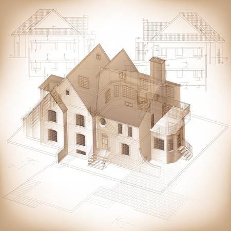 bocetos de personas: Fondo arquitect�nico con un modelo de construcci�n 3D clip-art Vectores