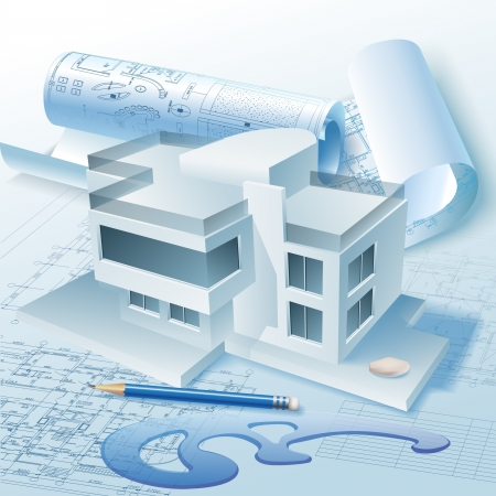 건축가: 3D 건물 모델 벡터 클립 아트와 건축 배경
